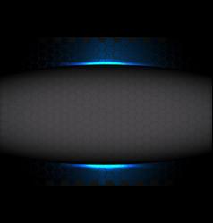 Abstract grey hexagon mesh blank space in blue vector
