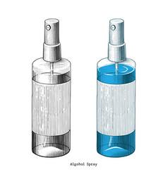 Alcohol spray hand draw vintage style clip art vector