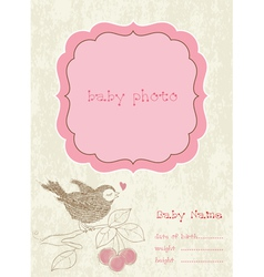 Baby girl arrival card with photo frame vector