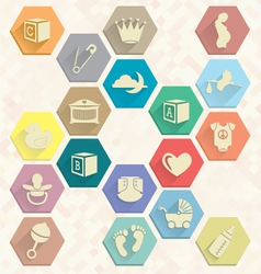 Baby Icons in Hexagons vector image