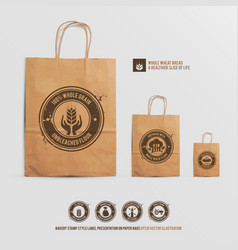 bakery stamp presentation on paper bags vector image