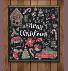 Banner of merry christmas with elements vector