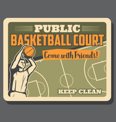 Basketball sport player and court poster vector