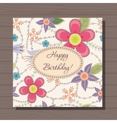 Birthday card with flowers vintage on wooden vector image