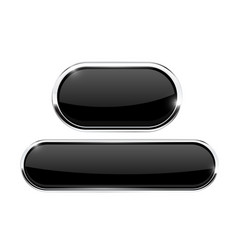 black buttons oval icons with metal frame vector image