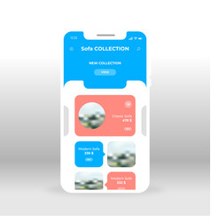 blue furniture shopping ui ux gui screen for vector image
