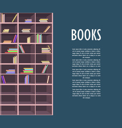 Book store promotion poster with wooden bookcase vector