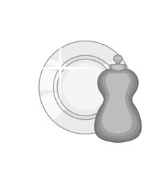 Bottle for dishwashing icon monochrome style vector image