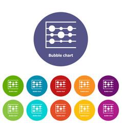 Bubble chart icons set color vector