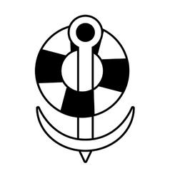 buoy anchor nautical travel maritime line vector image