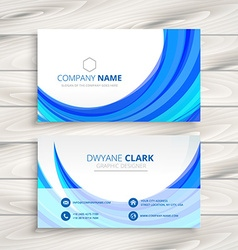 business card with blue wave vector image