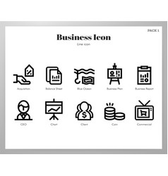Business icons line pack vector