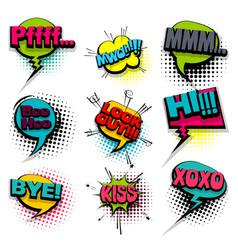 bye hi kiss set colored comics book balloon vector image