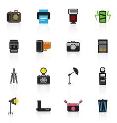 Camera and accessory icon set vector