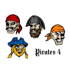 Cartoon pirates and captains vector image