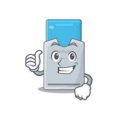 Cheerfully key card making thumbs up gesture vector