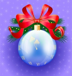 christmas ball-clock vector image