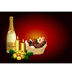 Christmas still life - Christmas cookie champagne vector