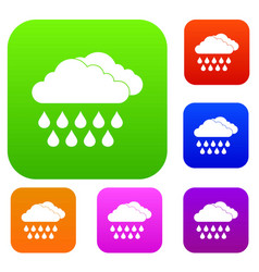 Cloud and rain set collection vector