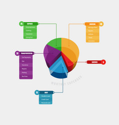 Colorful 3d chart info graphic with title menu vector