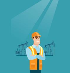 Confident oil worker vector