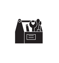 construction tools box black concept icon vector image