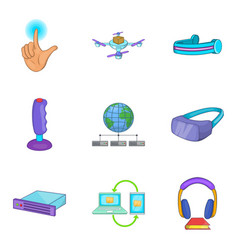 Cordless phone icons set cartoon style vector
