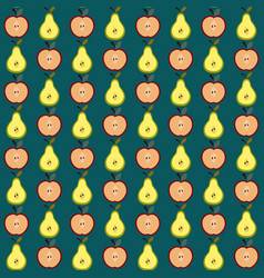 cute apple and pear pattern vector image
