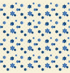 cute indigo flower with dot seamless pattern vector image
