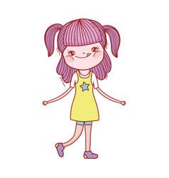 cute little girl standing cartoon character vector image