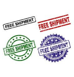 damaged textured free shipment stamp seals vector image