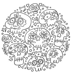 day dead skulls dia de los muertos vector image
