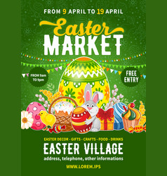 easter market poster template vector image