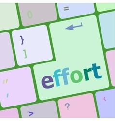 Effort word on keyboard key notebook computer vector
