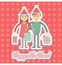 Family couple with Christmas shopping Greeting vector