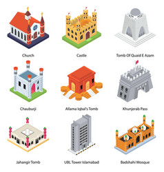 Famous landmarks isometric icons pack vector