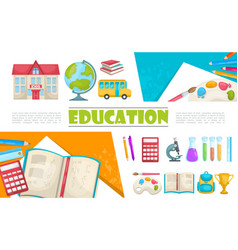 flat education elements composition vector image