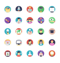 flat education icons set vector image