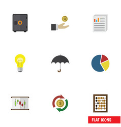 Flat icon incoming set of bubl hand with coin vector