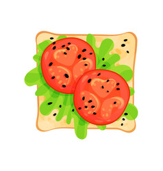 flat icon of tasty sandwich with tomato vector image