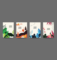 Flat plant posters gradient abstract geometric vector