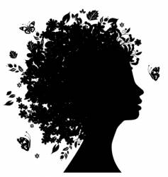 Floral hairstyle vector
