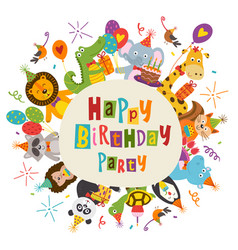 Frame happy birthday with funny animals vector
