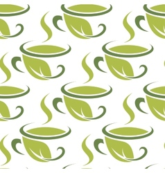 Fresh green herbal tea seamless pattern vector image