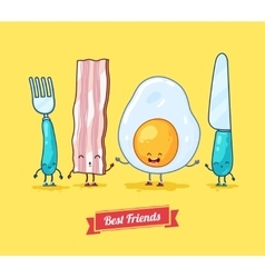 Funny cartoon Funny egg bacon knife vector