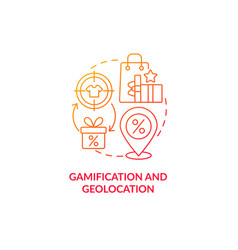 Gamification and geolocation red gradient concept vector