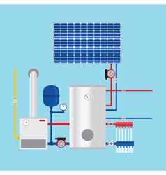 Gas boiler and solar panels Eco-house vector