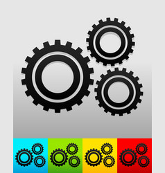 Gear gearwheel background in 5 colors to match vector