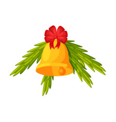 Golden bell with red bow and fir tree branches vector