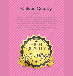 golden quality poster exclusive high best choice vector image